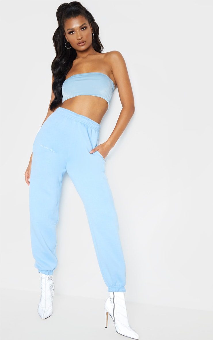 PRETTYLITTLETHING Pastel Blue Embroidered Jogger 1