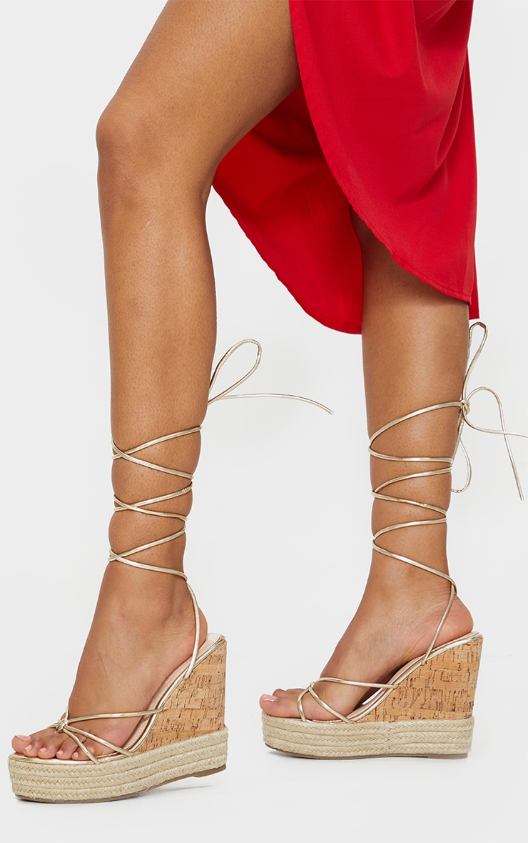 Gold Toe Thong Strappy Espadrille Wedges 2
