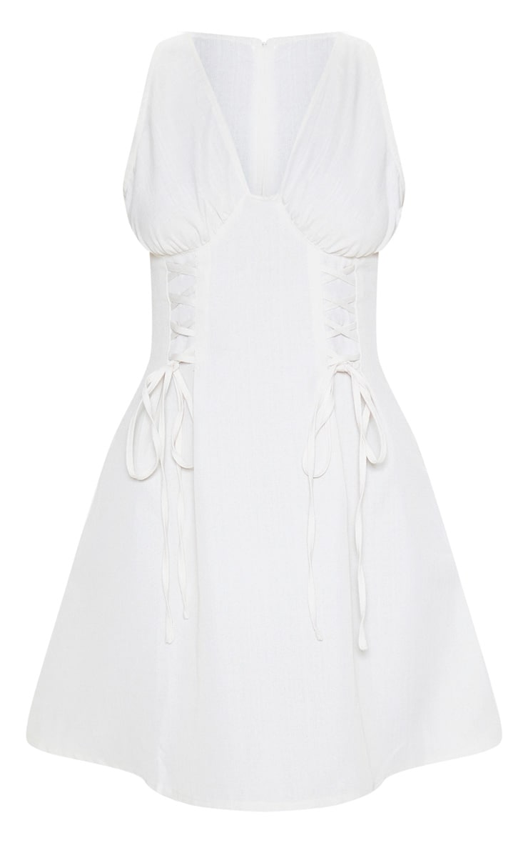 Stone Woven Lace Up Cup Detail Shift Dress 3