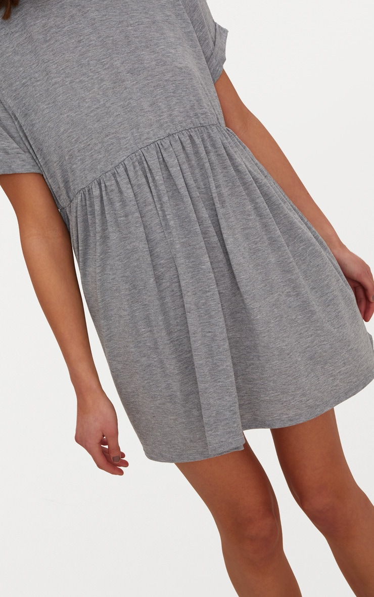 Grey Marl Jersey Oversized Smock Dress 5