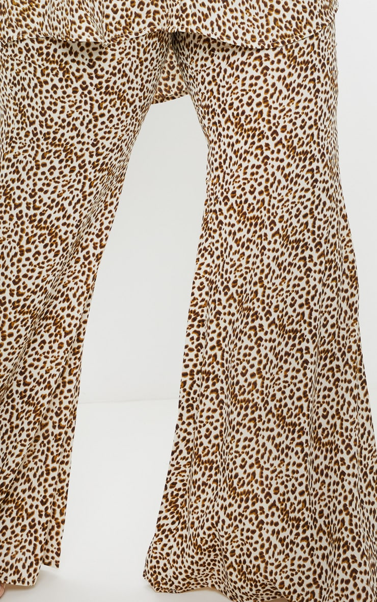 Plus Cream Leopard Print Satin High Waisted Flare Leg Trouser  5