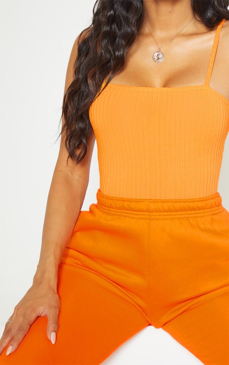 Orange Rib Strappy Sleeveless Bodysuit 6
