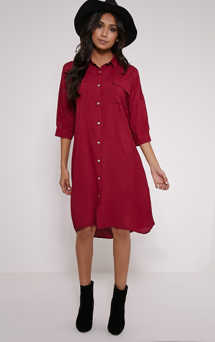 Perrin Berry Longline Shirt Dress 4