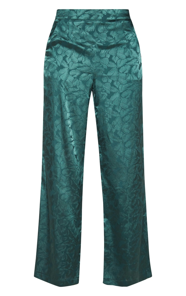 Emerald Green Floral Print Satin Pants  3
