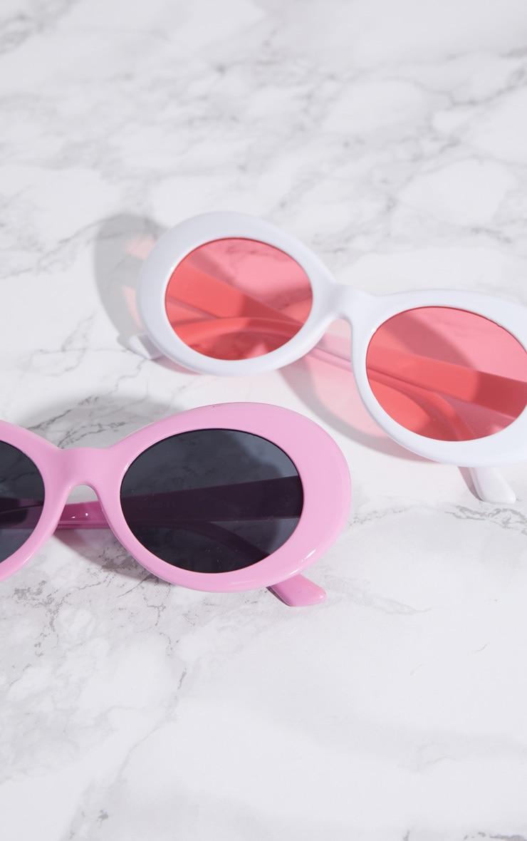 White Retro Oval Sunglasses 4