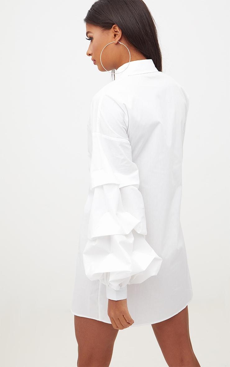 White Ruffle Sleeve Shirt Dress 2