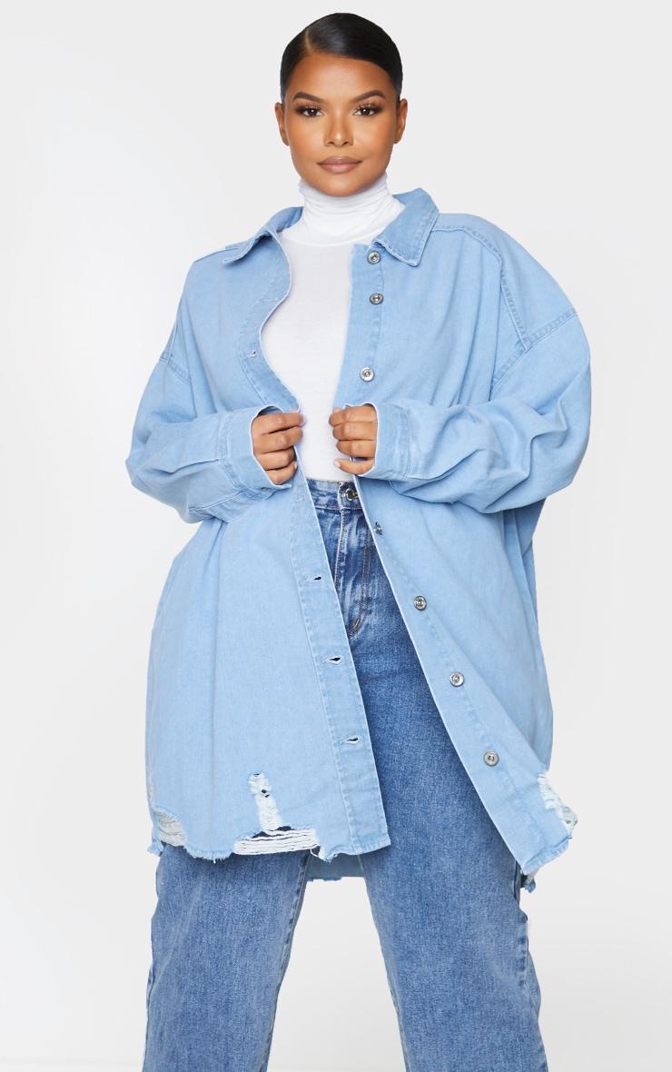Plus Mid Blue Oversized Ripped Hem Denim Shirt 1