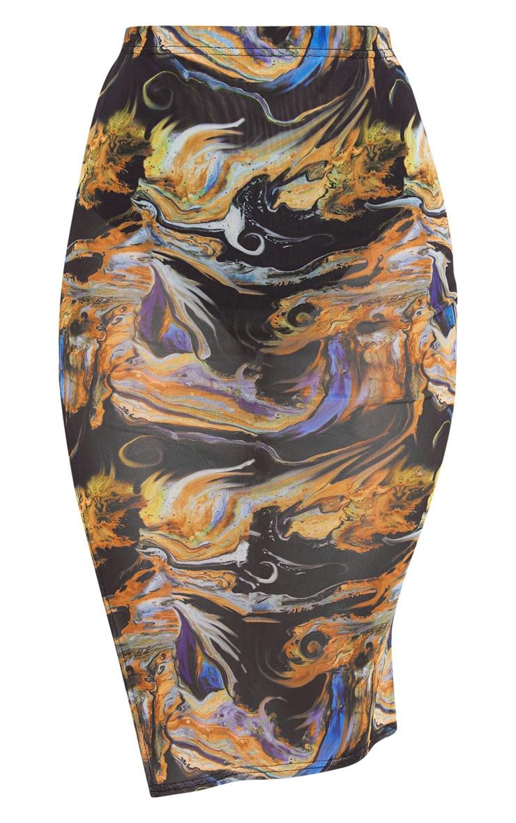 Black Marble Print Mesh Midi Skirt 3
