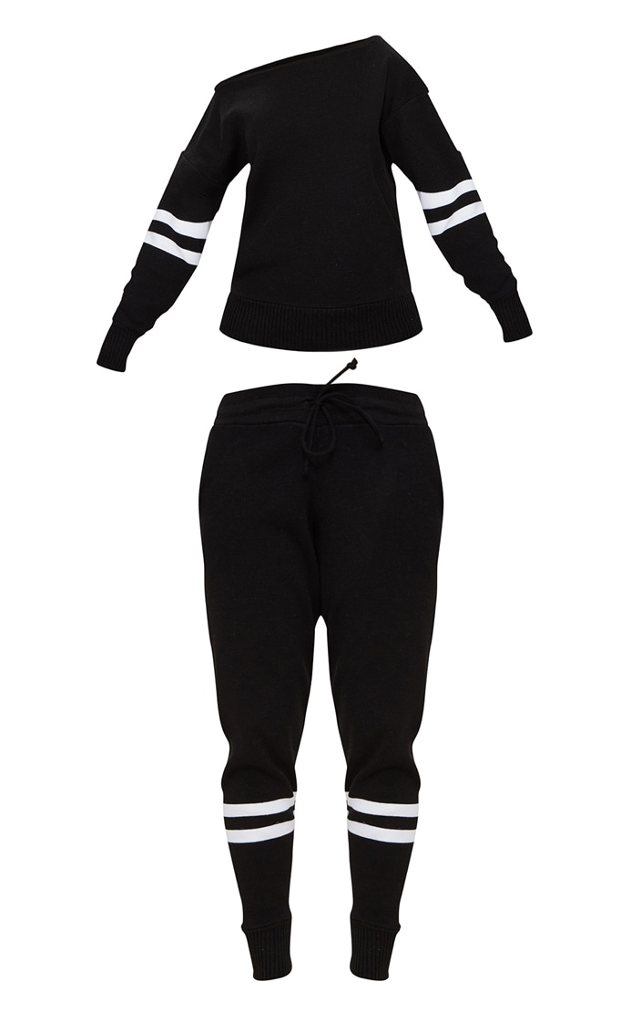 Black Stripe Detail Jogger Knitted Lounge Set 3