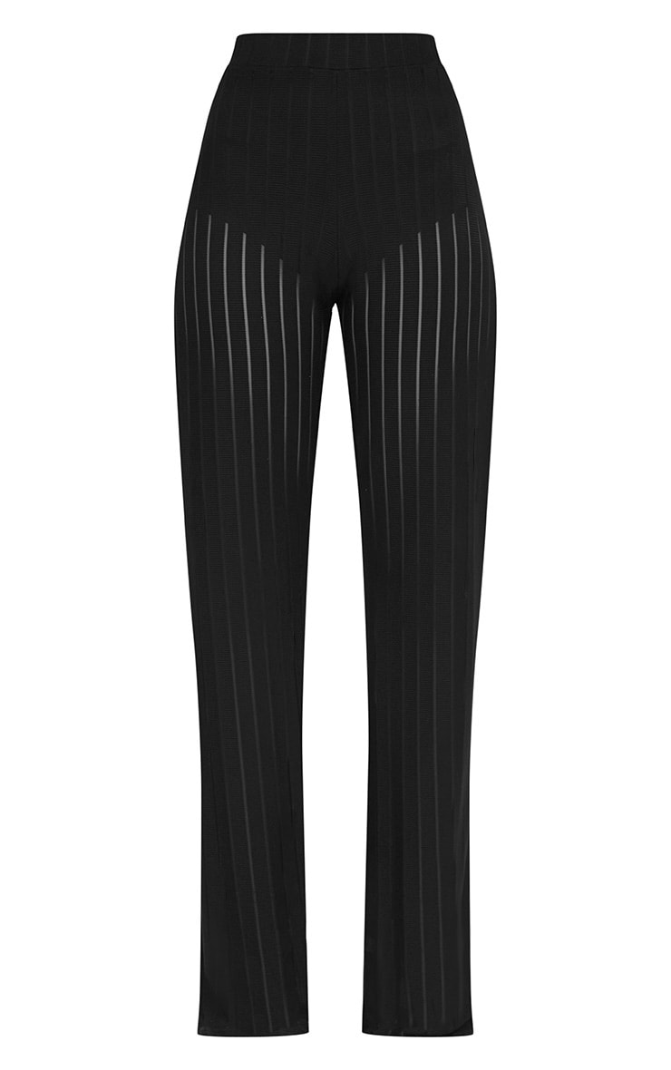 Black Mesh Stripe High Waisted Wide Leg Trousers 4