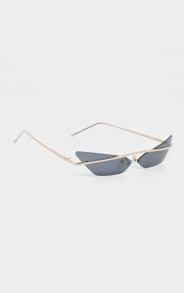 Black Lens Brow Bar Cat Eye Sunglasses 3