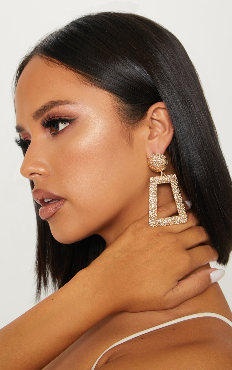 Gold Door Knocker Textured Oversized Square Drop Earrings 1