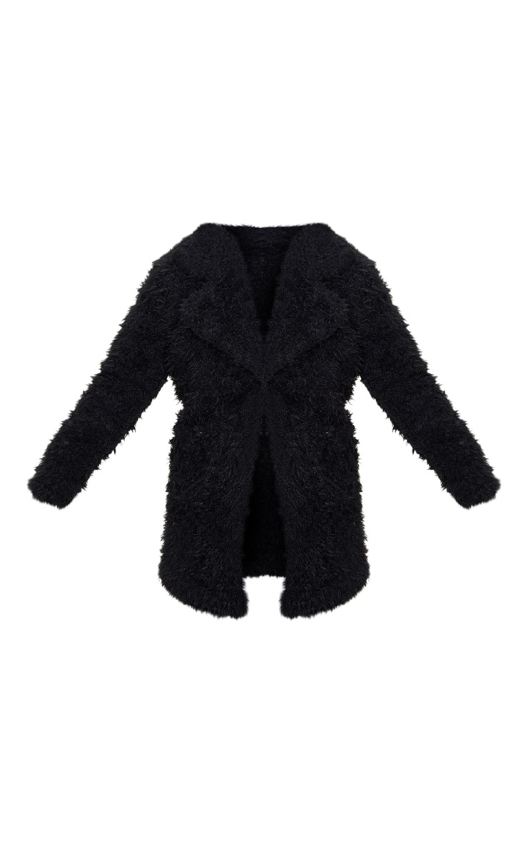 Petite Black Teddy Faux Fur Collar Midi Coat 3