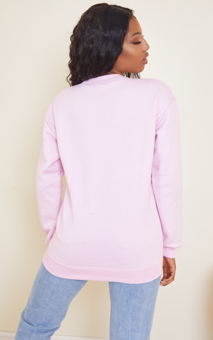 PRETTYLITTLETHING Oversized Baby Pink Embroidered Sweater 2
