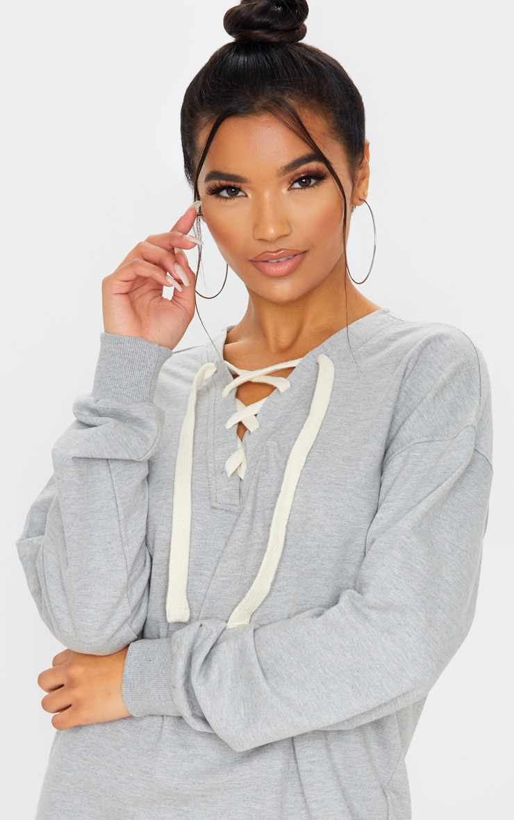 Grey Lace Up Oversized Sweat Jumper Dress  5