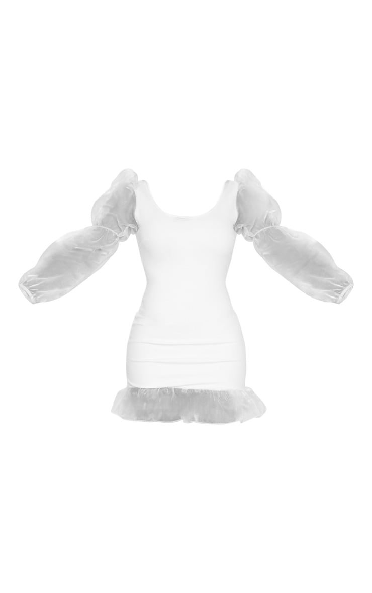 White Mesh Long Sleeve Frill Detail Bodycon Dress 5