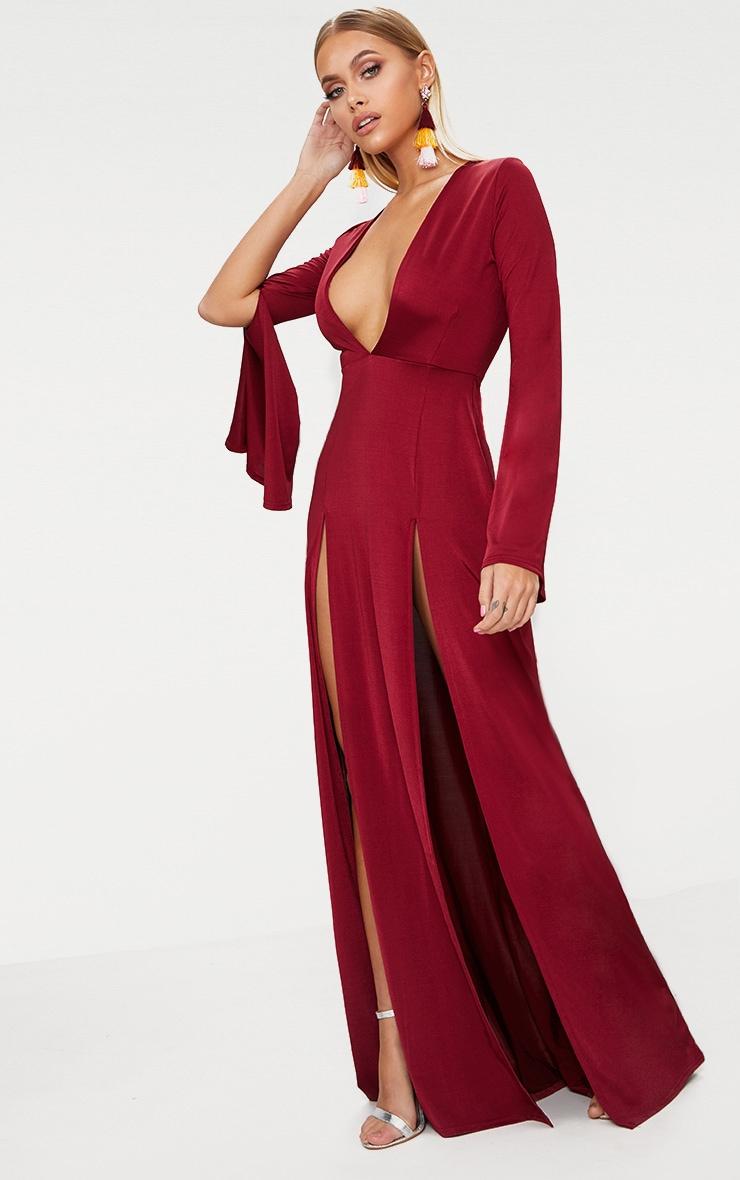 Burgundy Plunge Extreme Double Split Long Sleeve Maxi Dress 4