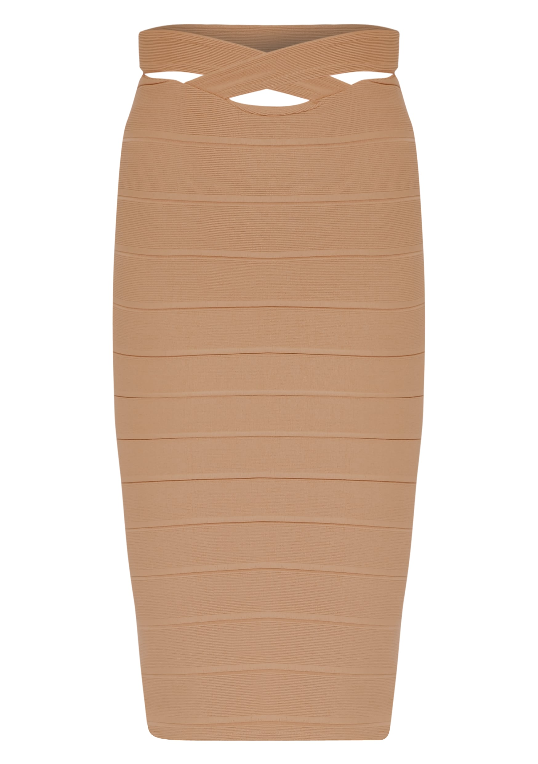 Jaimie Mocha Cut Out Bandage Midi Skirt 3