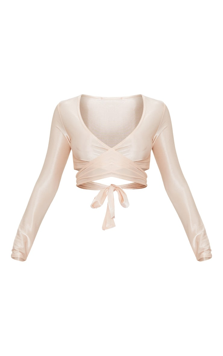 Blush Slinky Shimmer Tie Back Long Sleeve Crop Top 3