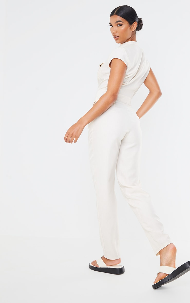 Stone Cap Sleeve Pocket Detail Buttoned Jumpsuit 2