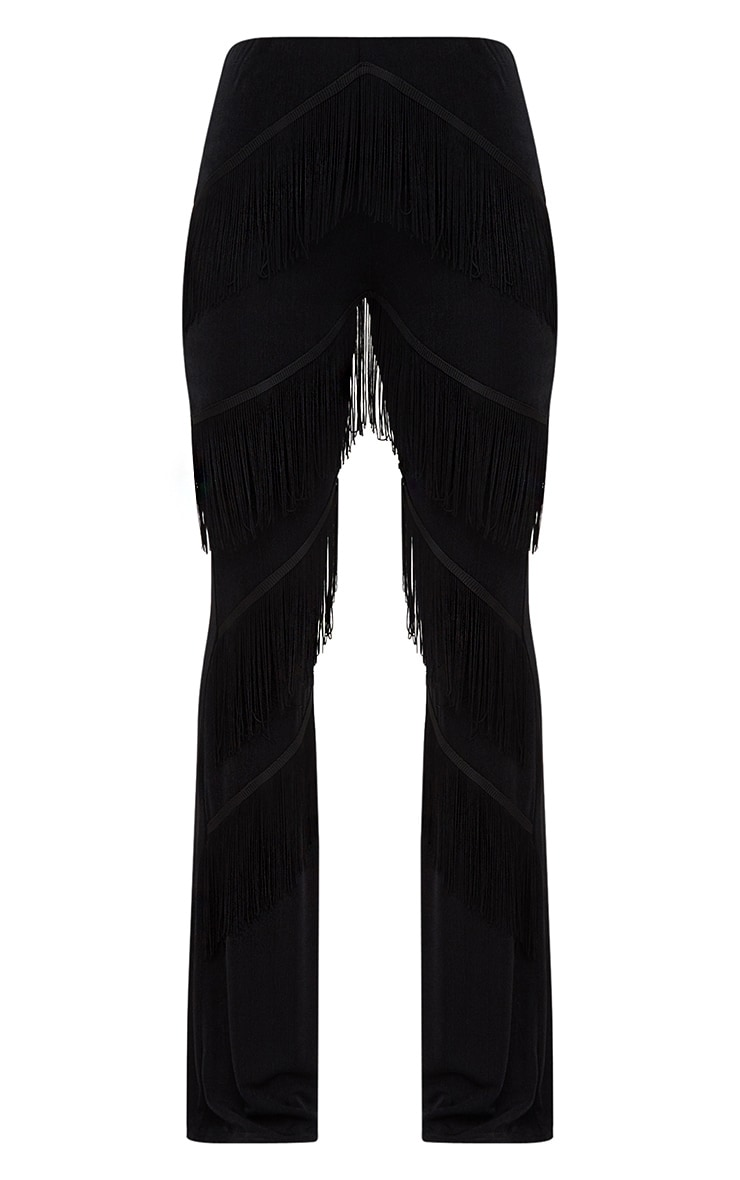 Black Slinky Tiered Fringe Flared Trousers 3