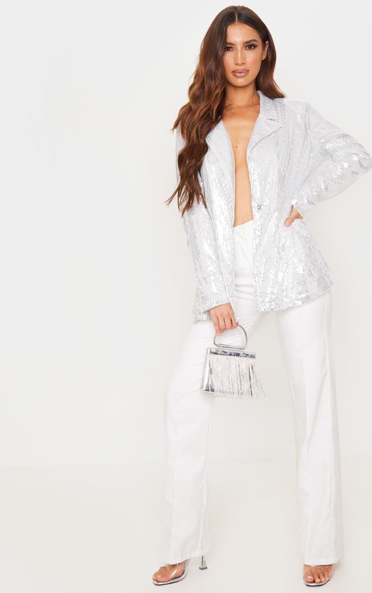 Silver Sequin Oversized Blazer 4