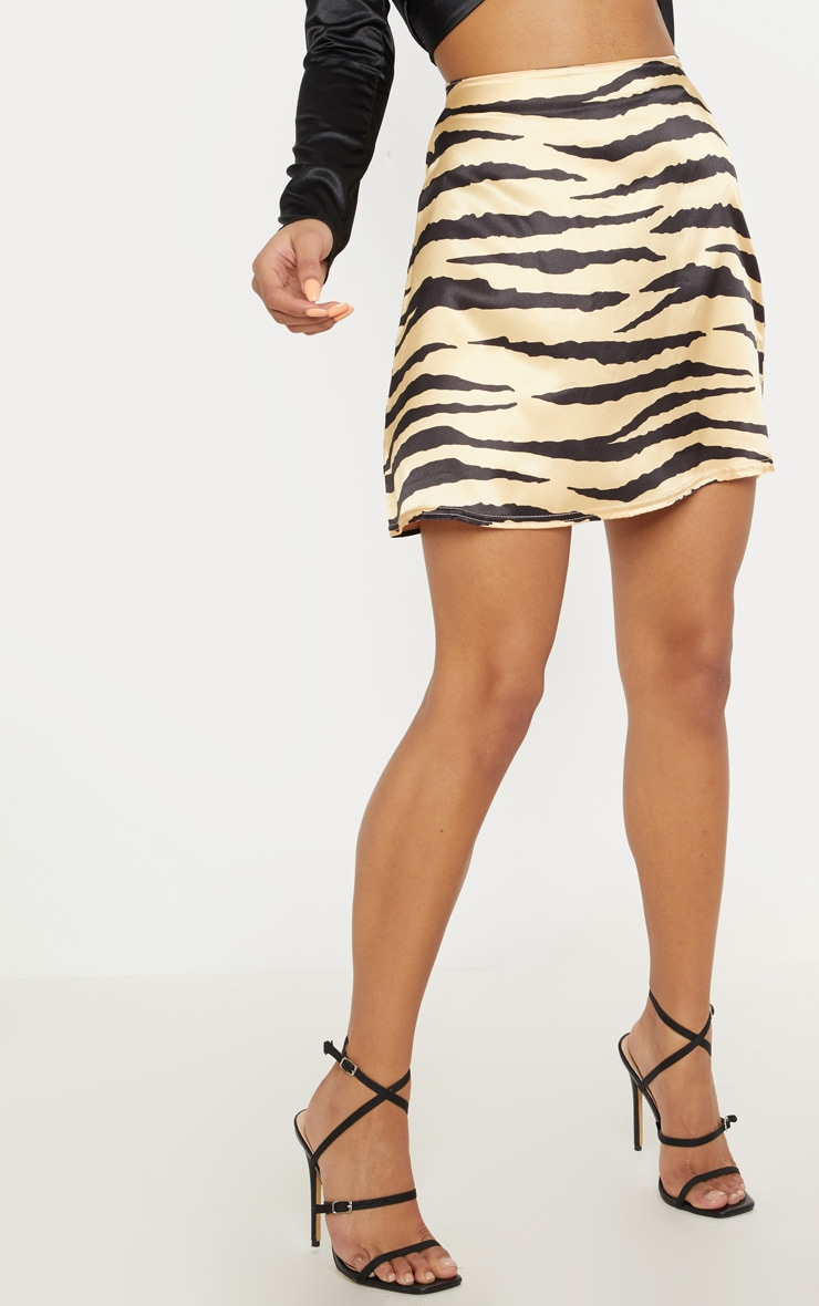 Stone Tiger Print Satin A Line Mini Skirt 2