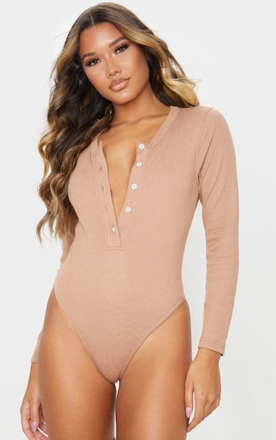 Camel Knitted Rib Button Front Bodysuit