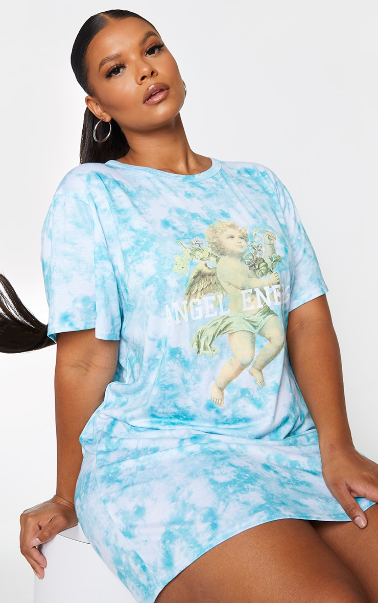 Plus Dusty Blue Tie Dye Angel Energy T Shirt Dress 1