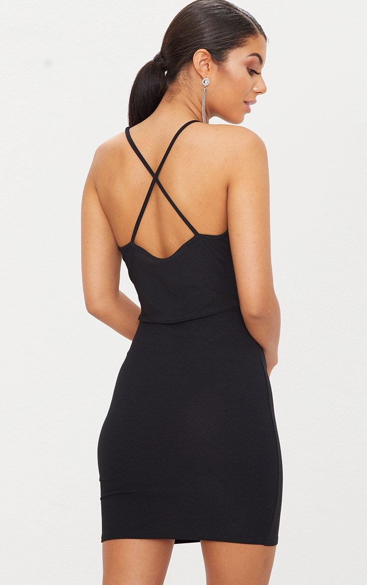 Black Cross Back High Neck Strappy Detail Bodycon Dress  2