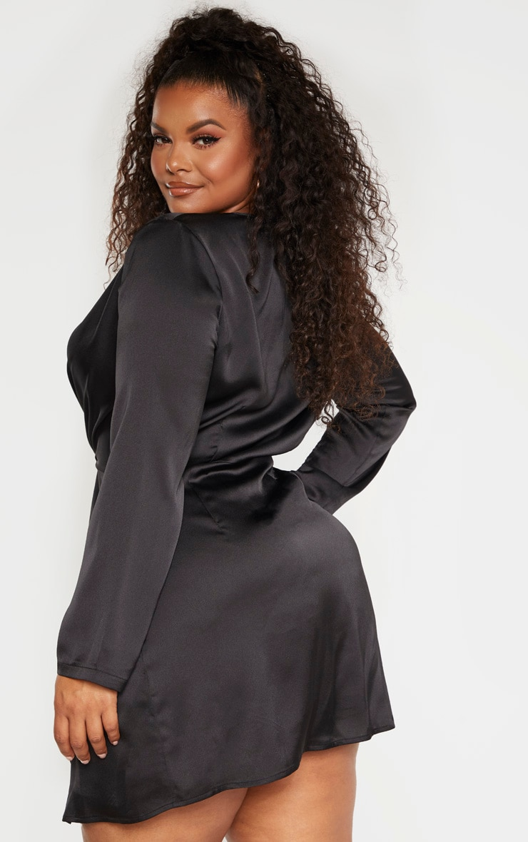 Plus Black Satin Long Sleeve Wrap Dress  2