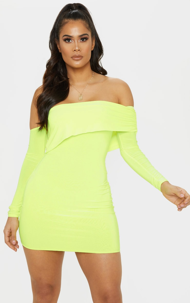 Neon Lime Slinky Fold Over Bodycon Dress 4