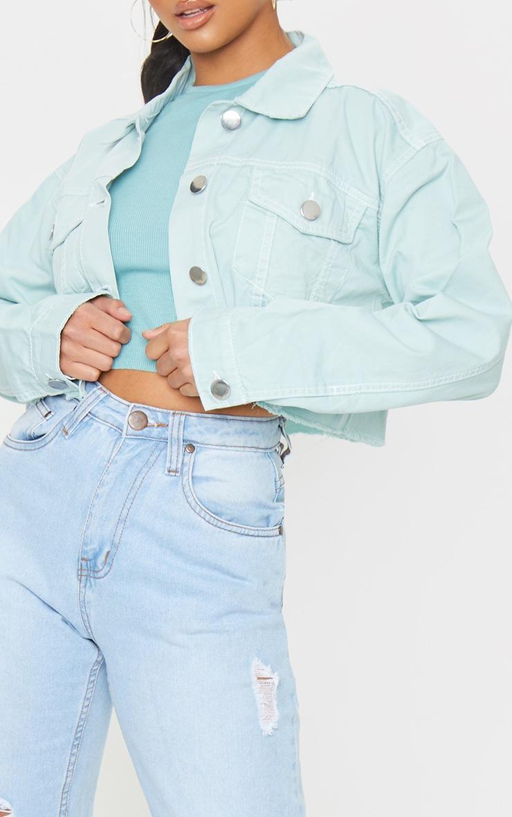 Petite Mint Raw Hem Cropped Denim Jacket 4