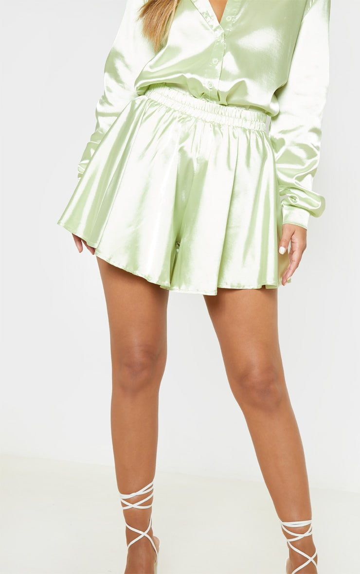 Petite Light Lime Floaty Satin Shorts  4