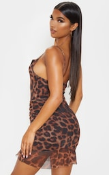 Brown Mesh Leopard Print Ruched Bodycon Dress 2