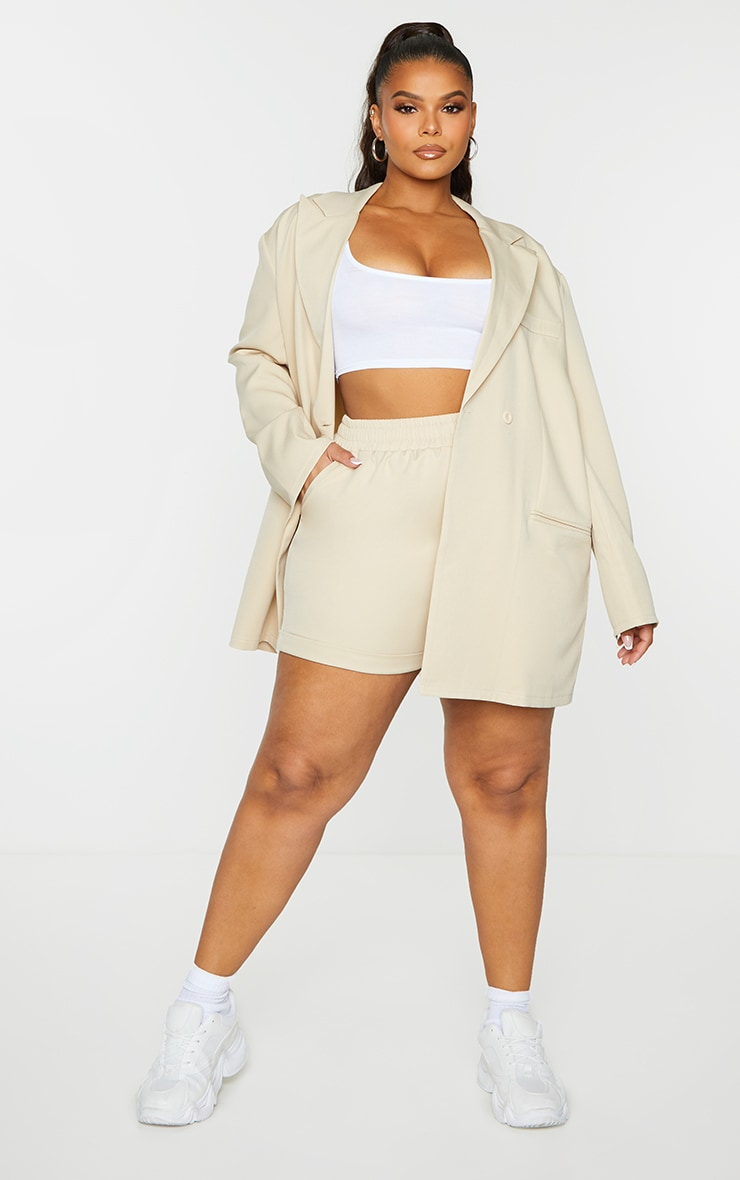 Plus Stone Ruched Waist Suit Shorts
