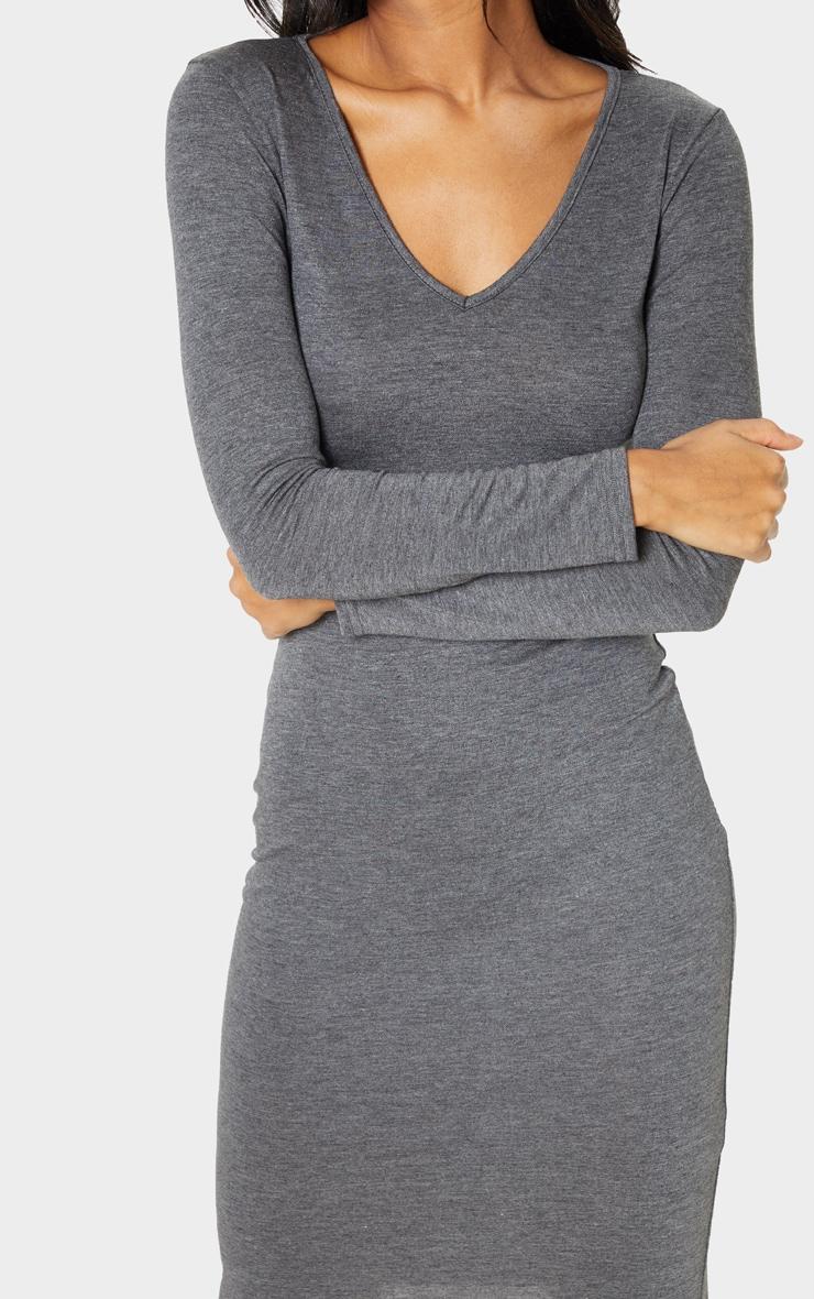 Charcoal Grey Jersey V Neck Long Sleeve Midi Dress 5