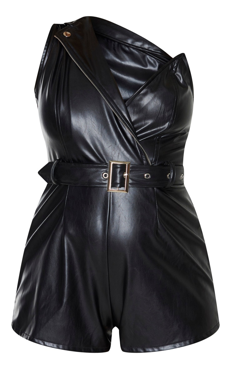 Black Faux Leather Asymmetric Belted Playsuit 3