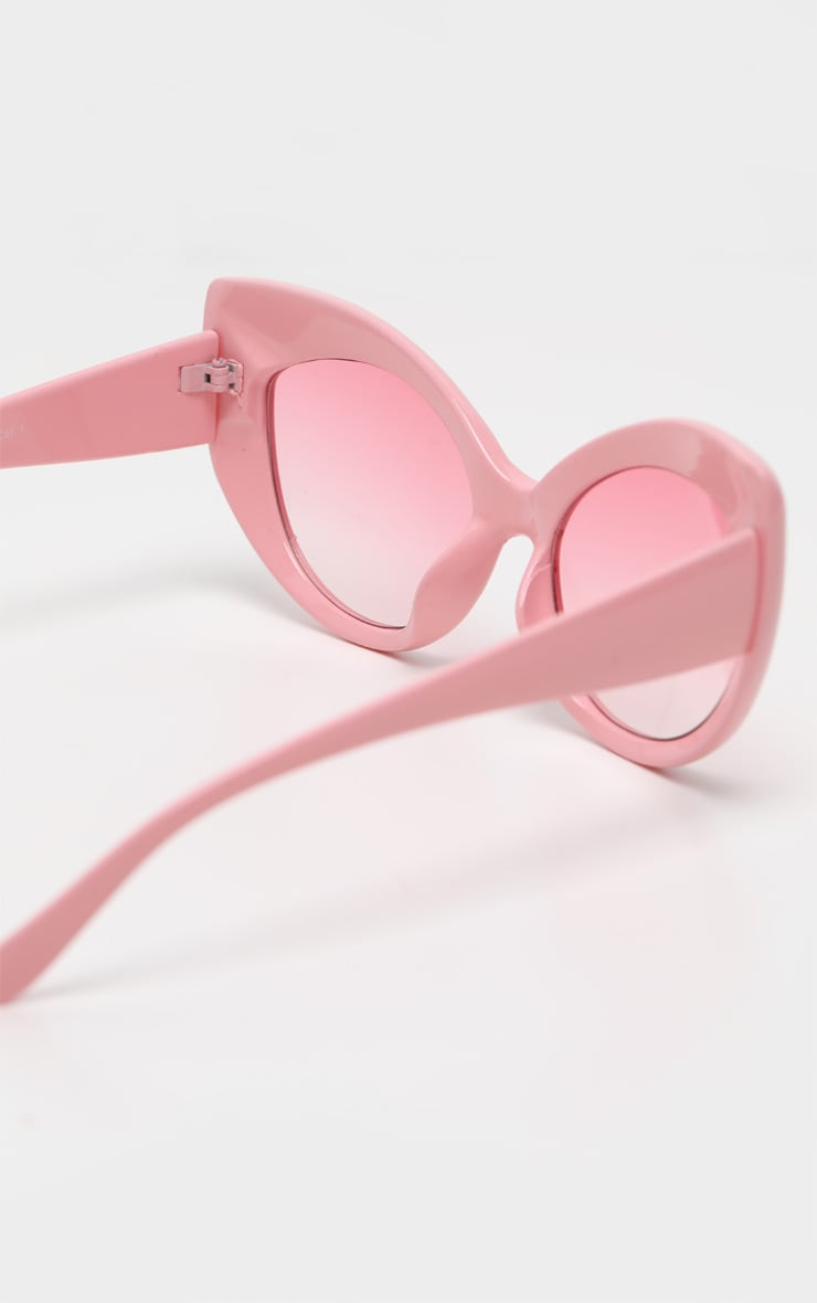 Pink Retro Chunky Cat Eye Frame Sunglasses 4