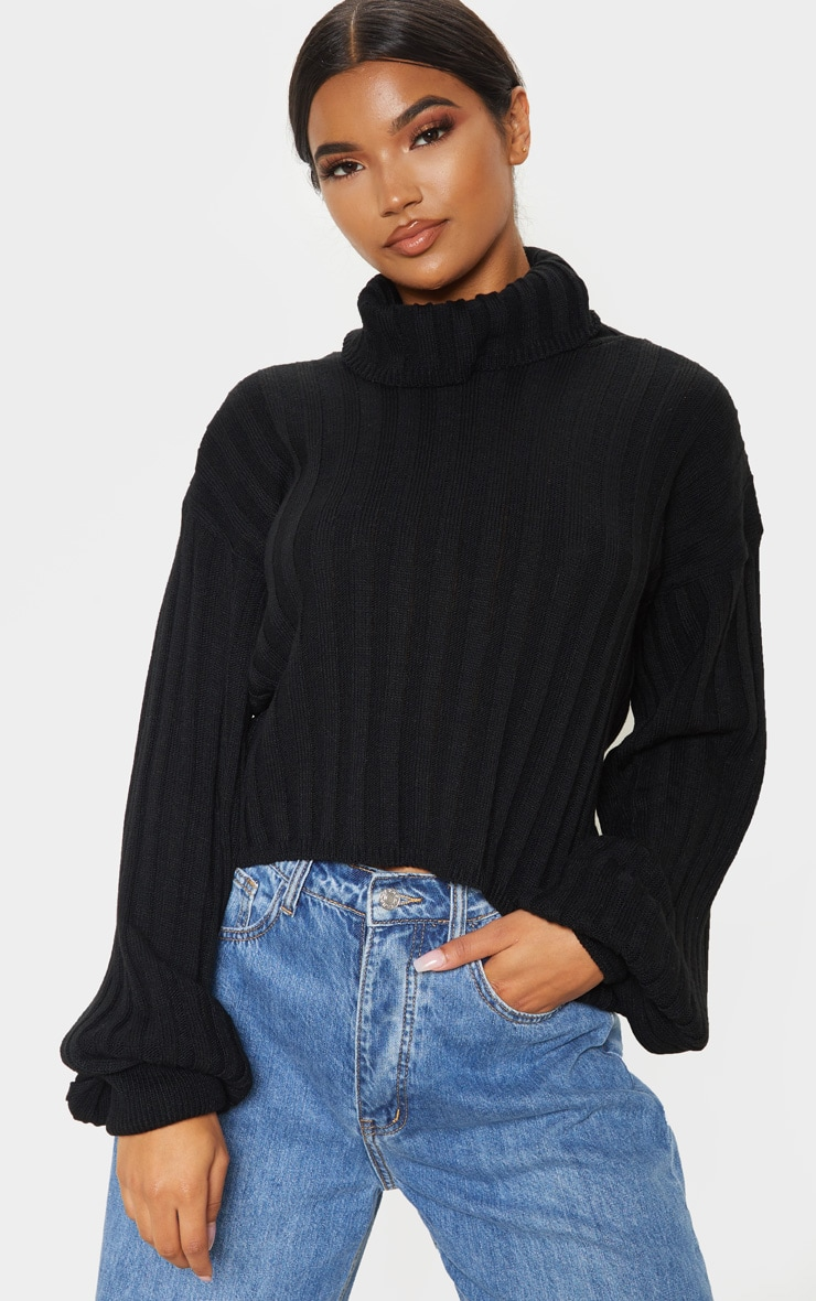 Black Balloon Sleeve Roll Neck Ribbed Sweater 1