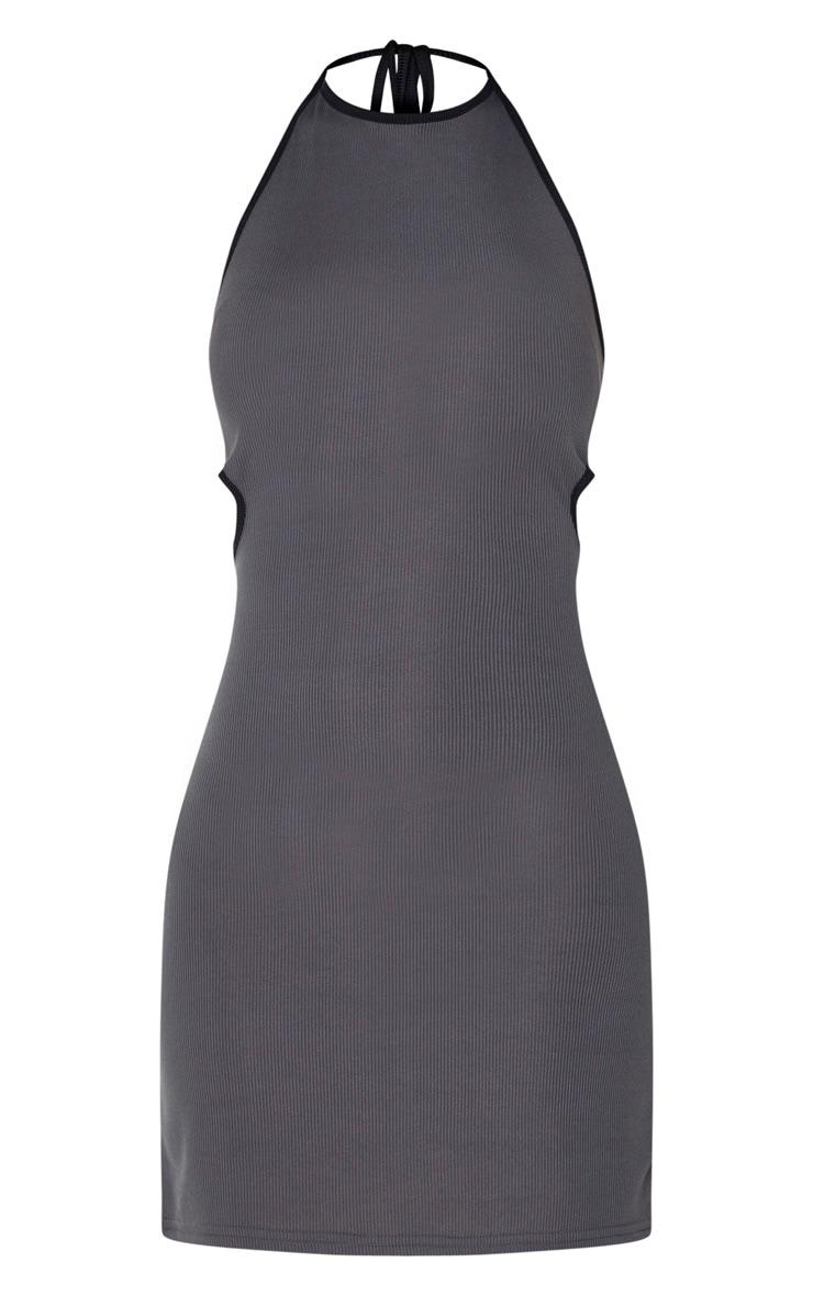 Grey Rib Contrast Trim Halterneck Cut Out Waist Bodycon Dress 5