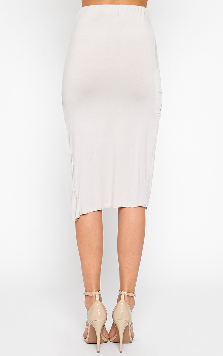 Ivana Grey Drape Midi Skirt 4