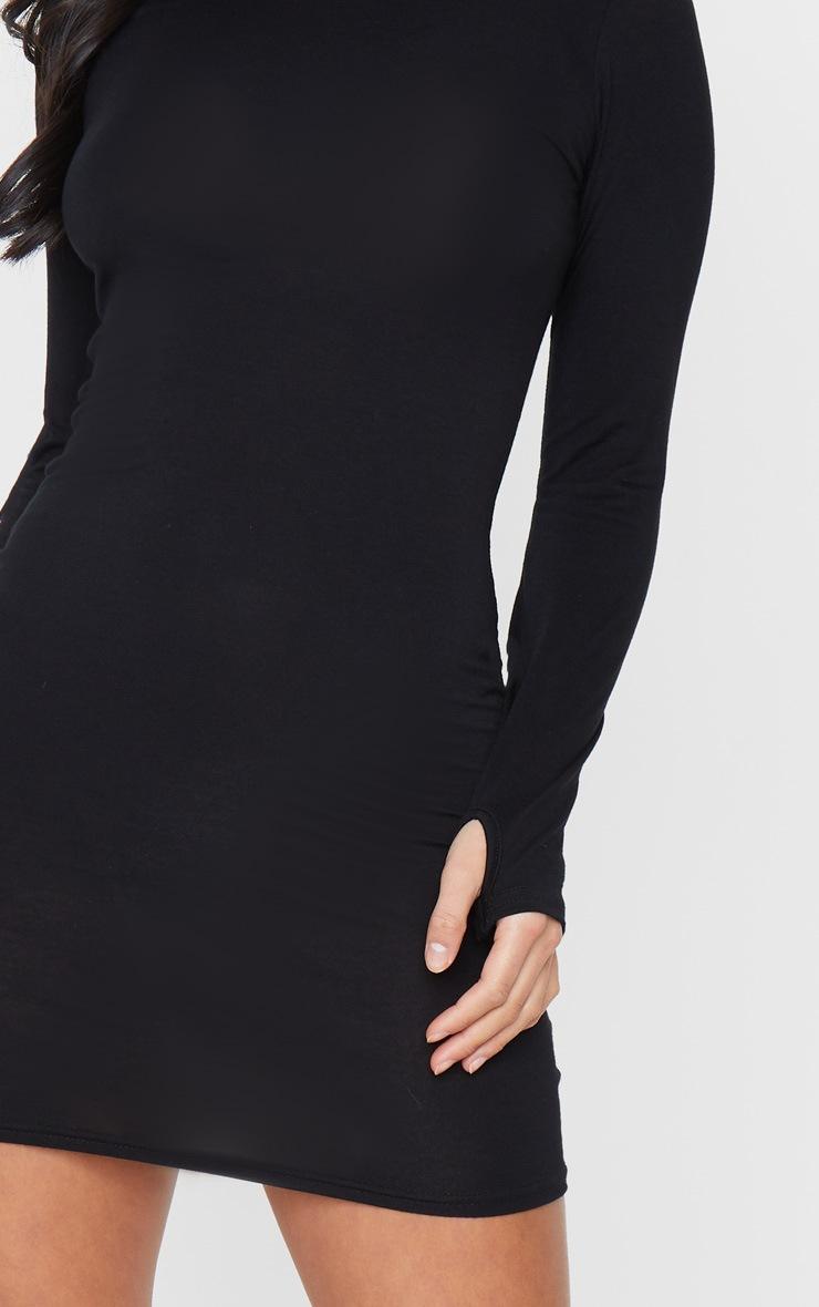 Petite Black Jersey Thumb Hole Long Sleeve Dress 4