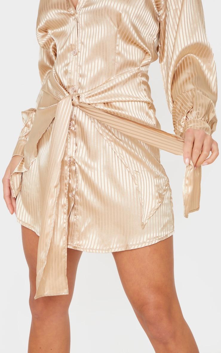 Petite Stone Satin Striped Tie Waist Shirt Dress 6