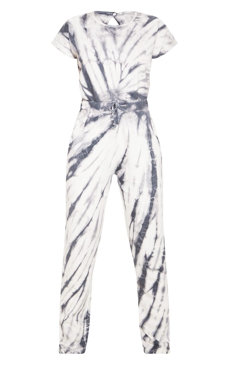 Grey Tie Dye Sweat Short Sleeve Jumpsuit 3