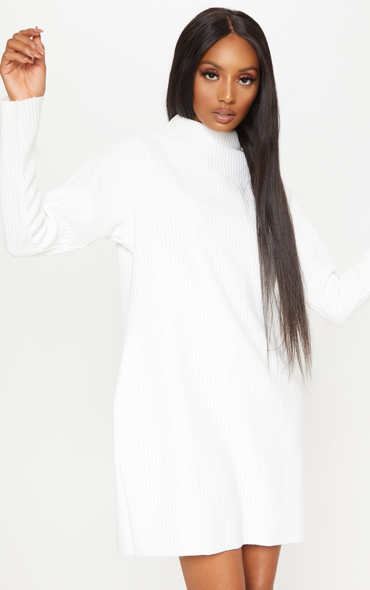 White High Neck Thick Ribbed Oversized Jumper Dress 1