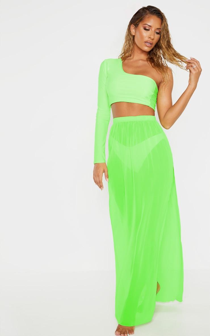 Neon Lime Chiffon Split Side Maxi Skirt 5