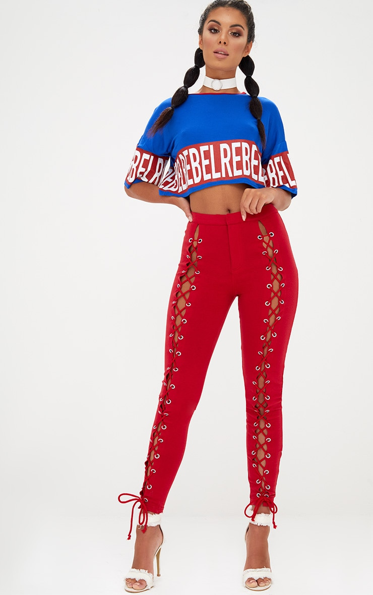 Red Front Lace Up Skinny Trousers 2