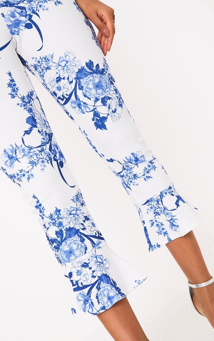 White Porcelain Print Flare Hem Trousers 5