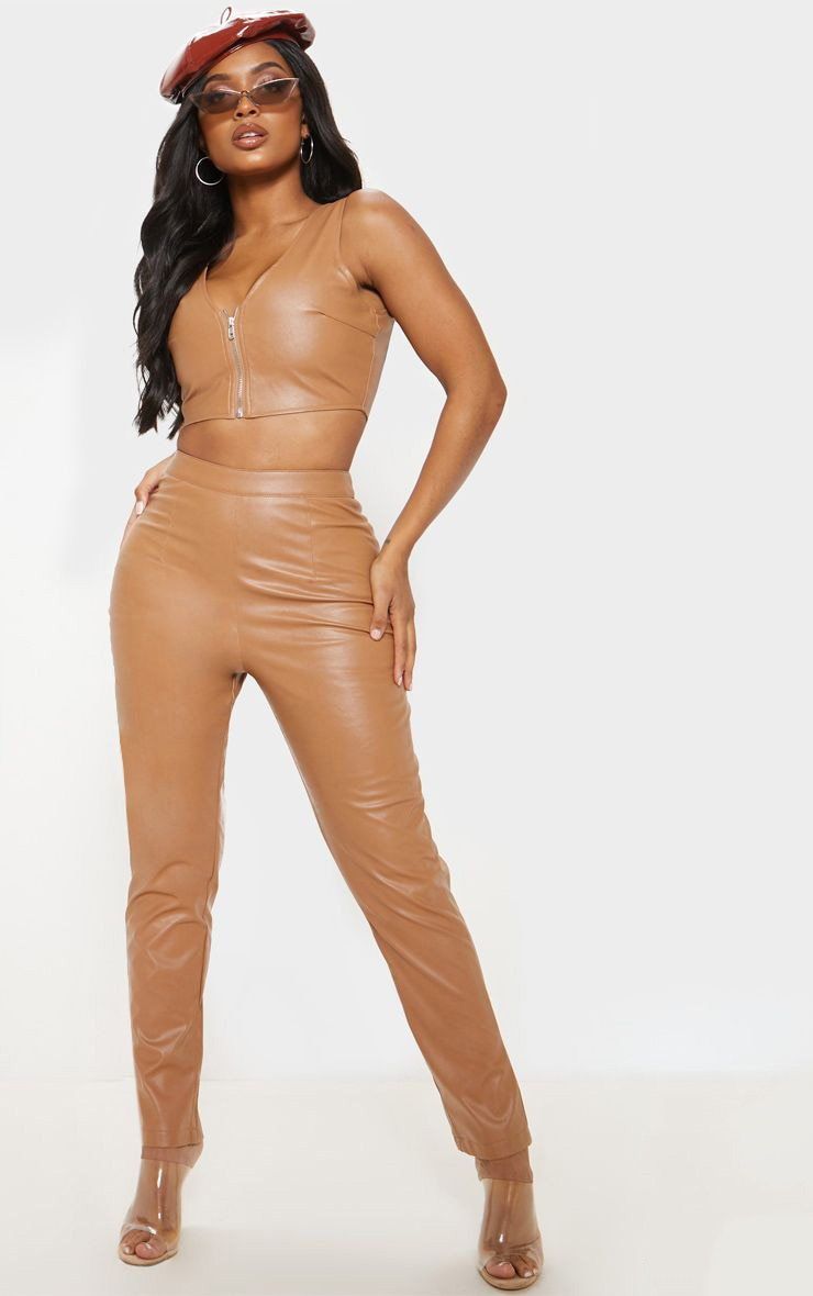 Shape Tan Faux Leather Straight Leg Trouser by Prettylittlething